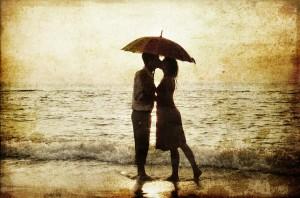 iubire sarut ploaie umbrela barbat femeie