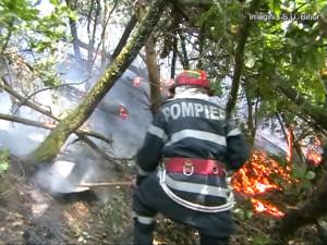 Stingere incendiu pompier ISU Crisana
