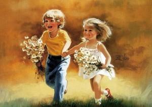 copii baiat fetita flori